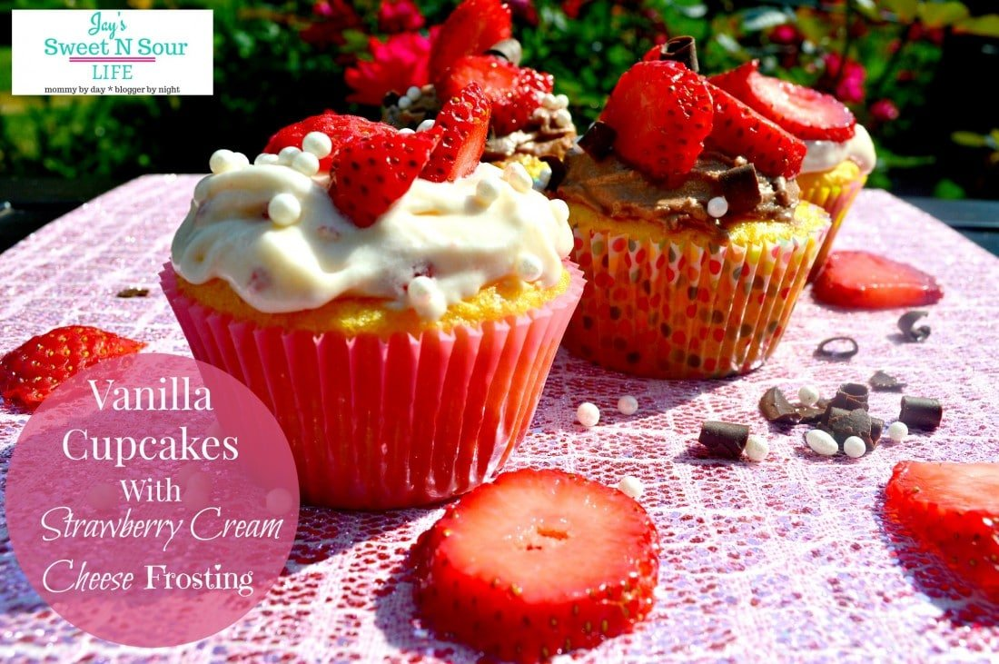 Delicious moist Vanilla Cupcakes with homemade Strawberry Cream Cheese Frosting. Perfect for parties, celebrations, or just sweet treats for any time of the year.