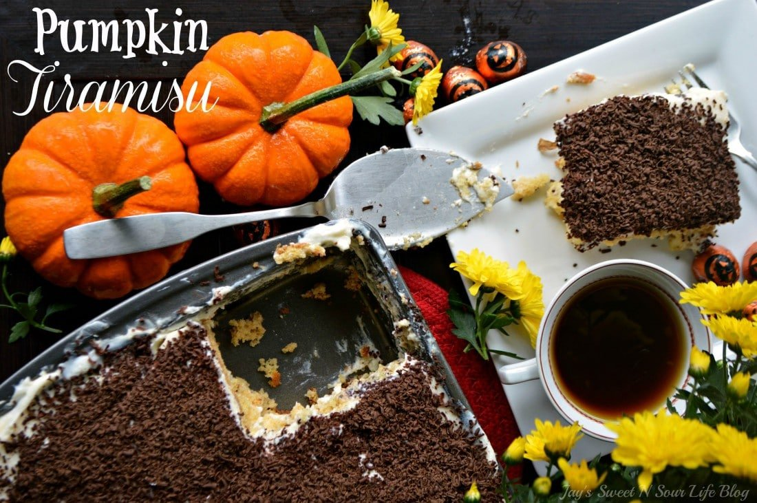 Pumpkin Tiramisu. Fall means pumpkin and whats fall without pumpkin flavored desserts. Enjoy a slice of this amazingly easy to make Pumpkin Tiramisu with your morning cup of coffee.