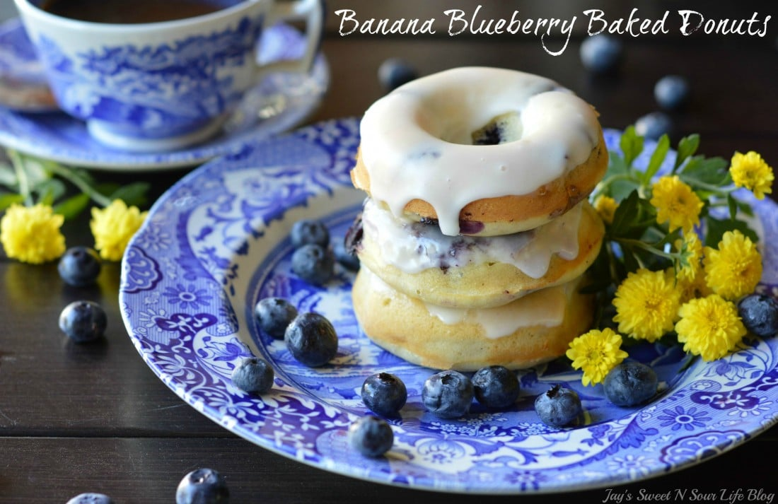 Baked Banana Blueberry Donuts Stacked. This light and tasty Banana Blueberry Baked Donuts recipe is made with fresh blueberries and ripe banana's. Try my yeast free donut recipe today.