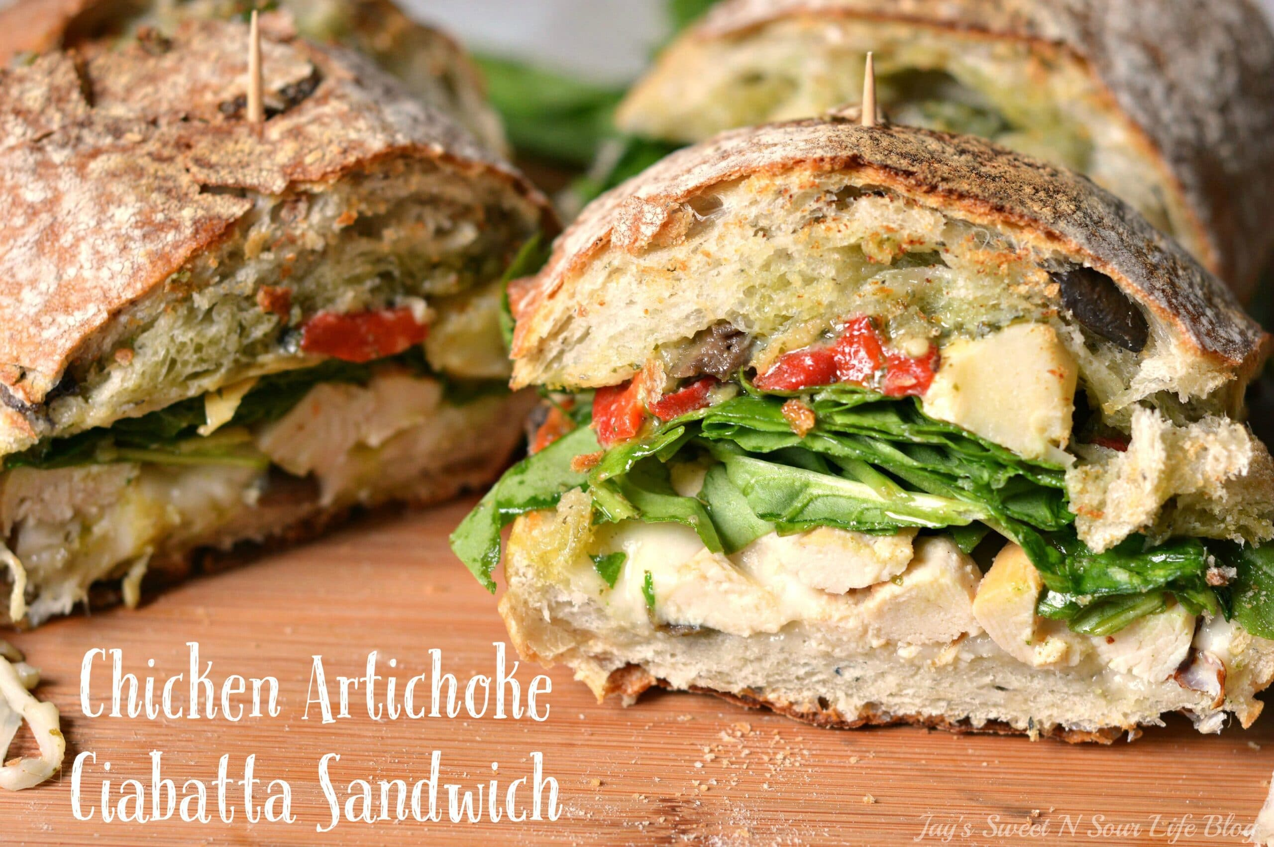 This Tuscan-inspired Chicken Artichoke Ciabatta Sandwich is loaded with roasted red peppers, artichokes, grilled chicken, fresh spinach, deli-sliced provolone cheese, and Pesto sauce. The perfect balance of sweet and savory, it's the perfect way to mix up your normal lunchtime routine.
