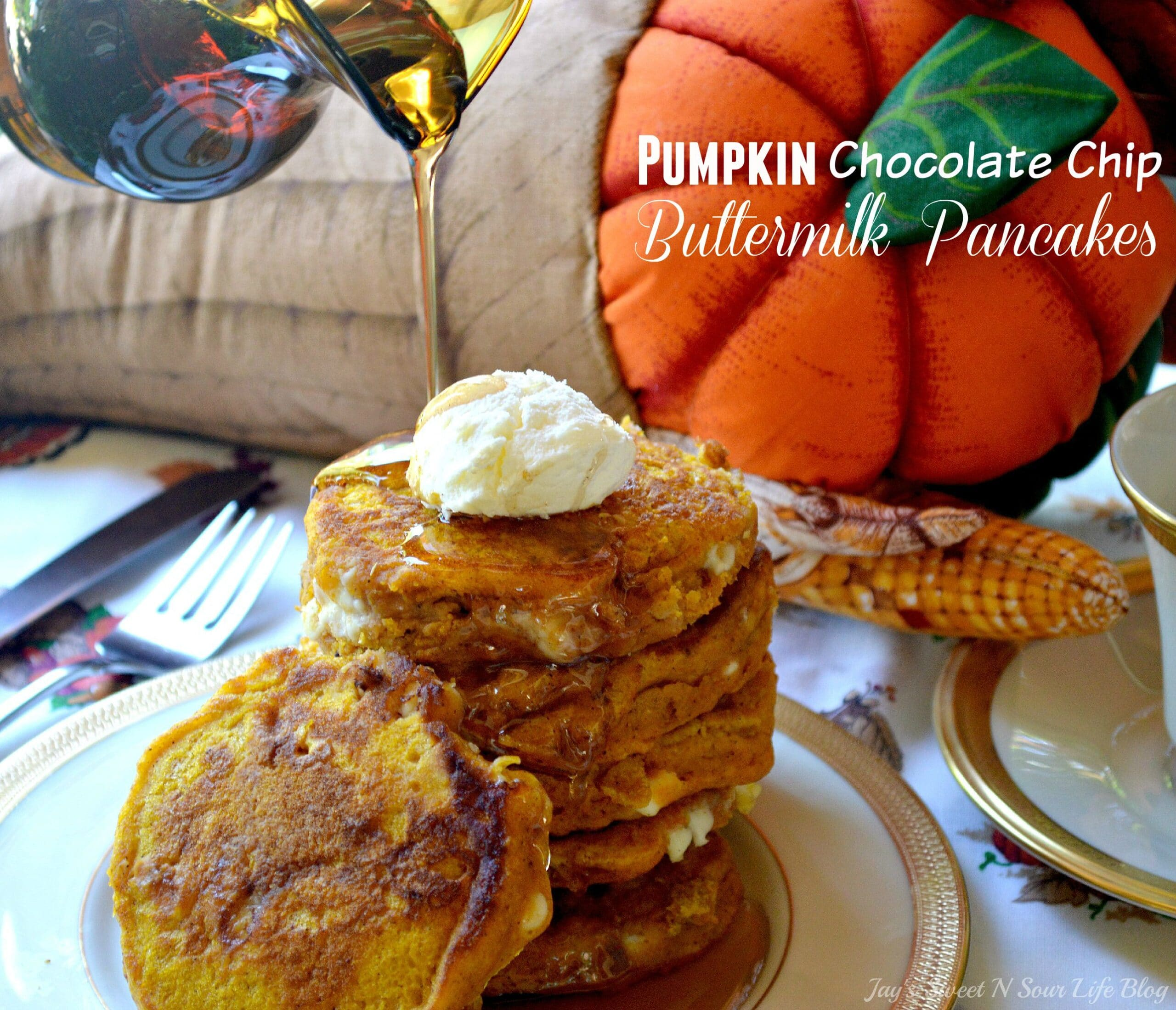 Pumpkin Chocolate Chip Buttermilk Pancakes