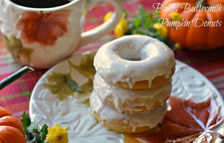 Baked Buttermilk Pumpkin Donuts Closeup Stacked Donuts. Calling all pumpkin lovers! Try my moist Baked Buttermilk Pumpkin Donut Recipe. Frosted with cream cheese and baked to perfection in my No Yeast Recipe.