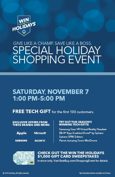 Special Holiday Shopping Event At Best Buy – November 7th ONLY!