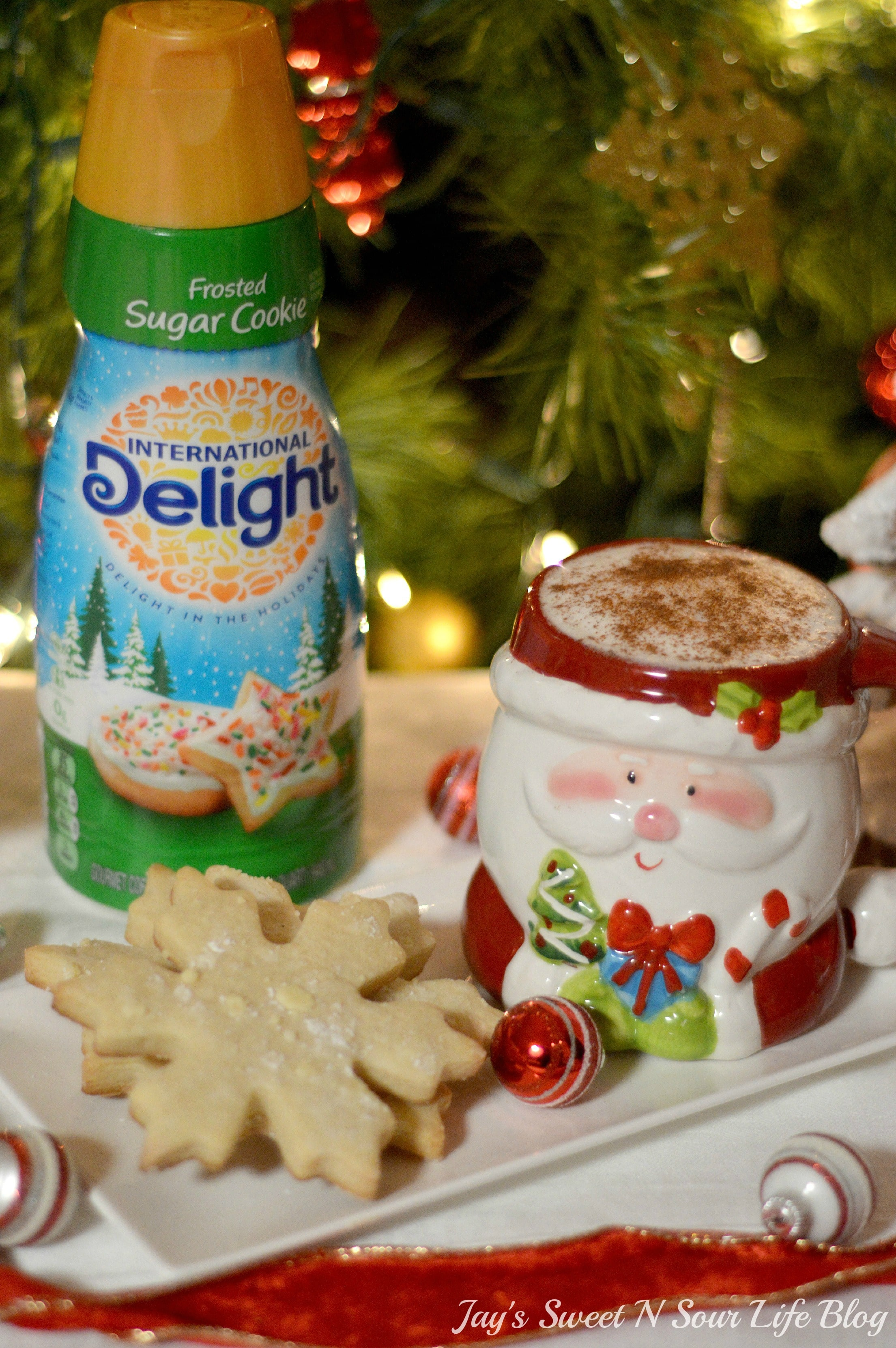 Santa's milk and cookies. Treat Santa to his very own Santa's Milk and Cookies Latte, paired with a buttery snowflake cookie perfect for dipping. No milk frother needed, this delicious sugar cookie flavored latte and snowflake cookies make the perfect holiday treat duo.