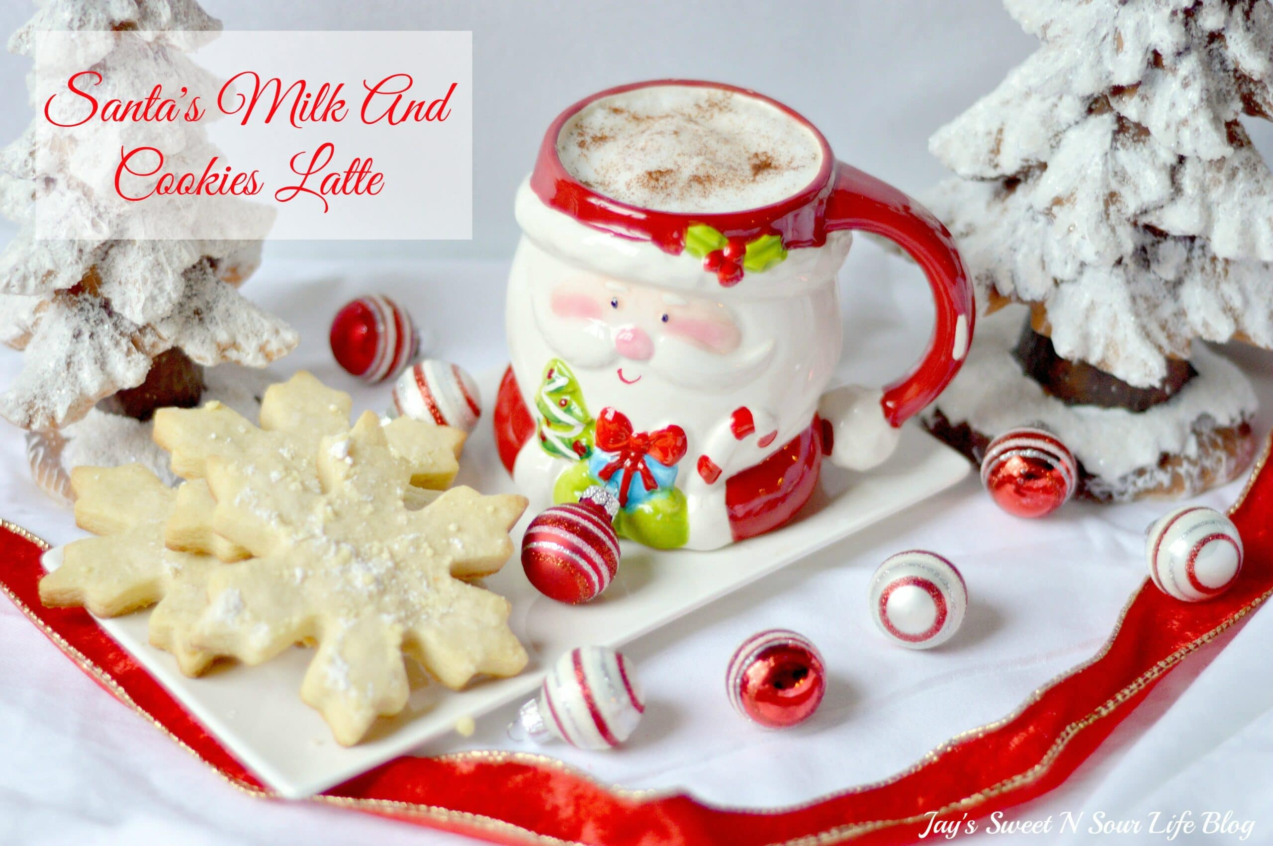 Santas milk and cookies latte Hero 1.3 Final Title. Treat Santa to his very own Santa's Milk and Cookies Latte, paired with a buttery snowflake cookie perfect for dipping. No milk frother needed, this delicious sugar cookie flavored latte and snowflake cookies make the perfect holiday treat duo.