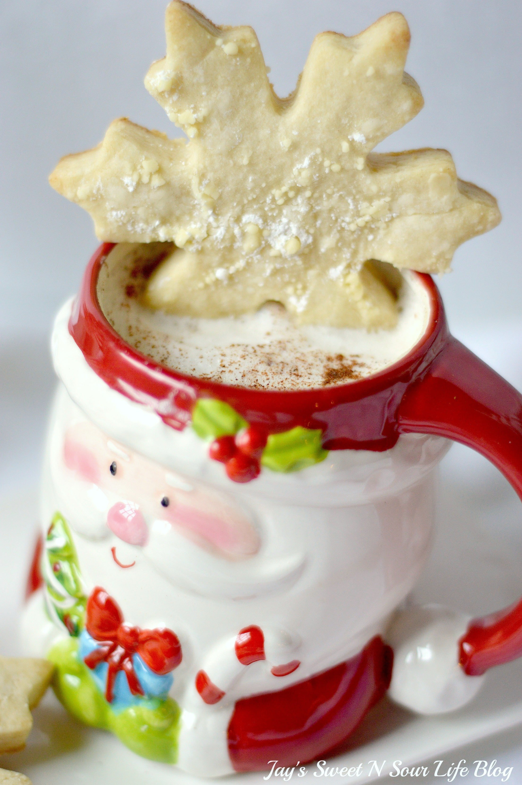 Santas milk and cookies latte Hero 3.3. Treat Santa to his very own Santa's Milk and Cookies Latte, paired with a buttery snowflake cookie perfect for dipping. No milk frother needed, this delicious sugar cookie flavored latte and snowflake cookies make the perfect holiday treat duo.