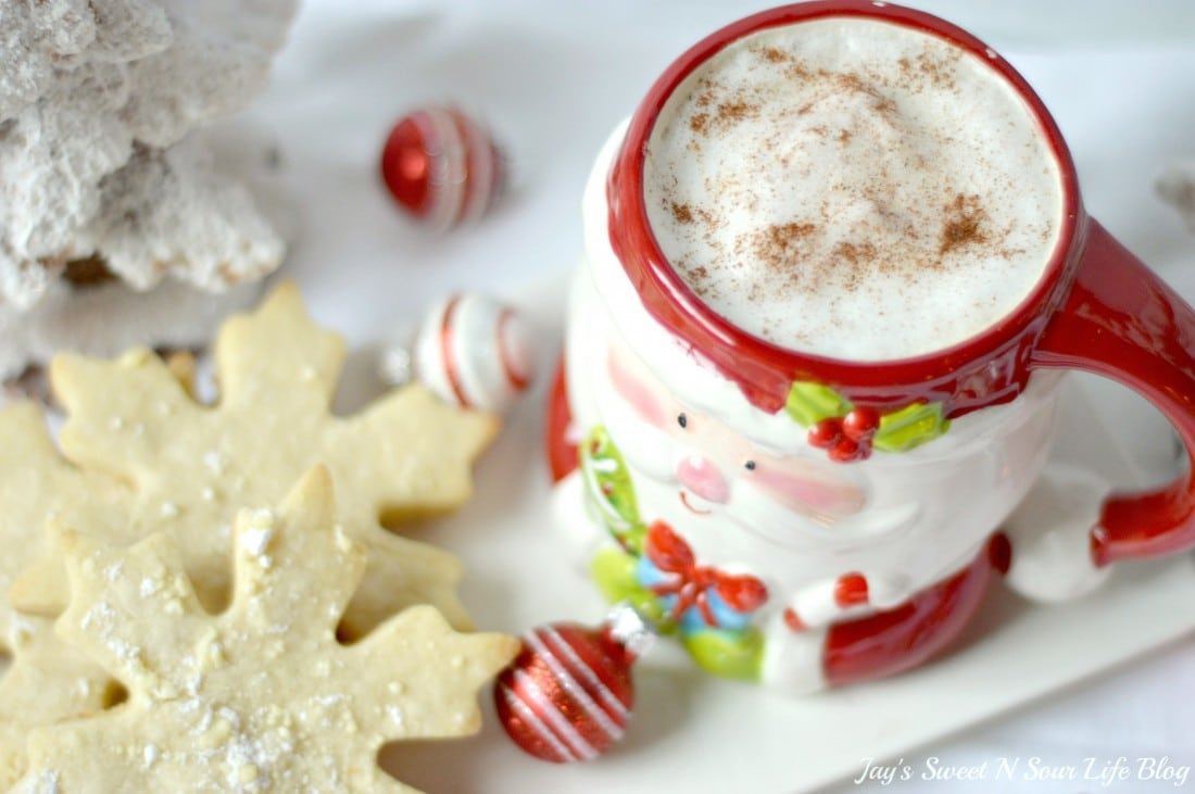 Santas milk and cookies latte Hero 4.3. Treat Santa to his very own Santa's Milk and Cookies Latte, paired with a buttery snowflake cookie perfect for dipping. No milk frother needed, this delicious sugar cookie flavored latte and snowflake cookies make the perfect holiday treat duo.