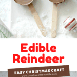 Edible Reindeer Easy Christmas Craft. Fun and easy to make, dash into the holiday season with an adorable Edible Rudolf. This Edible Christmas Craft is kid-friendly and perfect for holiday parties and gatherings.