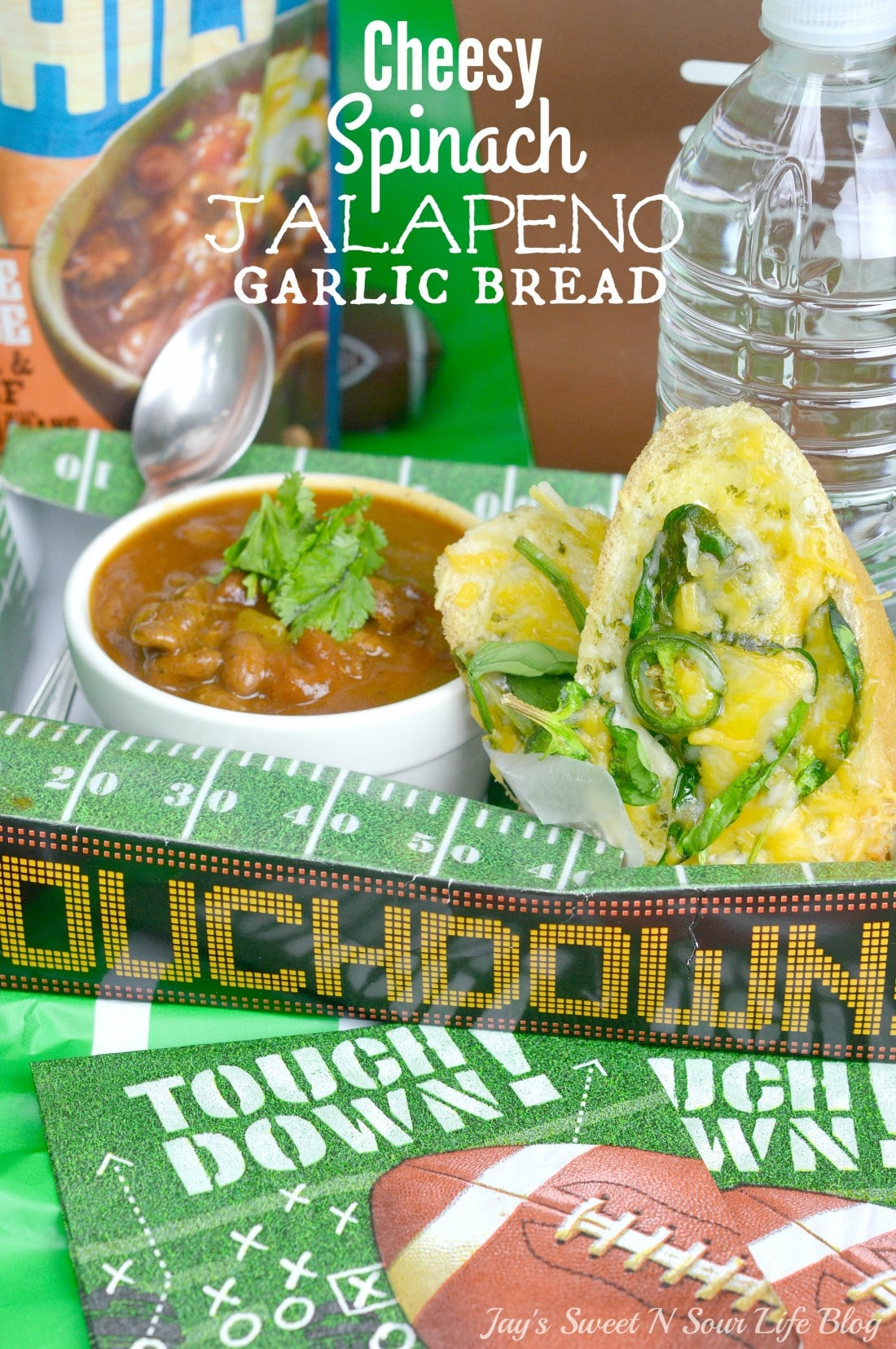 Cheesy Spinach Jalapeno Garlic Bread. This spicy yet creamy Cheesy Spinach Jalapeno Garlic Bread will make any game day a victory. Make ahead and serve on game day.