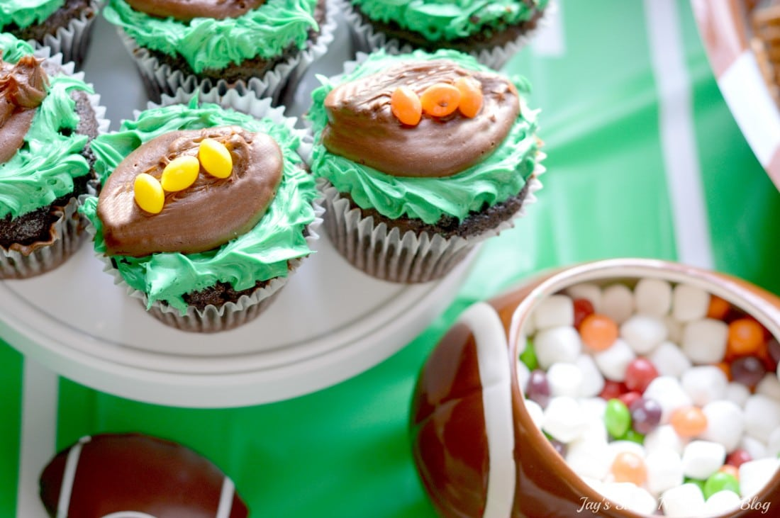 Game Day Skittles Inspired Snacks Table Toppers Cupcakes Popcorn. Game Day Skittles Inspired Snacks that all of your friends and family can enjoy! Recipes include skittles popcorn, football cupcakes and more!
