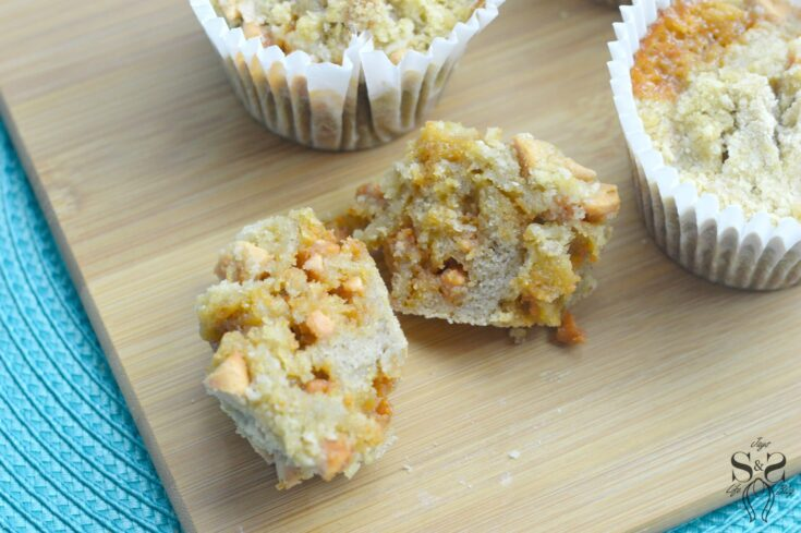 A delicious tender and fluffy Banana Butterscotch Muffins are stuffed with butterscotch chips and covered in a streusel topping. A wonderful way to put those neglected ripe bananas to good use, this easy muffin recipe is a great breakfast pastry option.