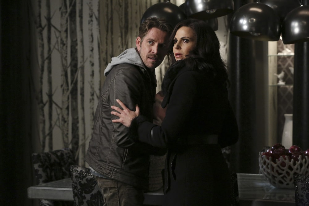 "ONCE UPON A TIME - ""Last Rites"" - Emma, David, Regina, Robin and Henry are finally back home in Storybrooke and reunited with Snow, but, unfortunately, they still have to contend with Hades, who continues to deceive Zelena as he lays out his plan to use the all-powerful Olympian Crystal to take over the town. The heroes desperately search for a way to defeat Hades while Hook does the same in the Underworld, looking for those missing storybook pages. Regina and Robin take a more direct approach, which culminates in an epic showdown that will leave our heroes forever changed, on ""Once Upon a Time,"" SUNDAY, MAY 8 (8:00-9:00 p.m. EST), on the ABC Television Network. (ABC/Jack Rowand) SEAN MAGUIRE, LANA PARRILLA"