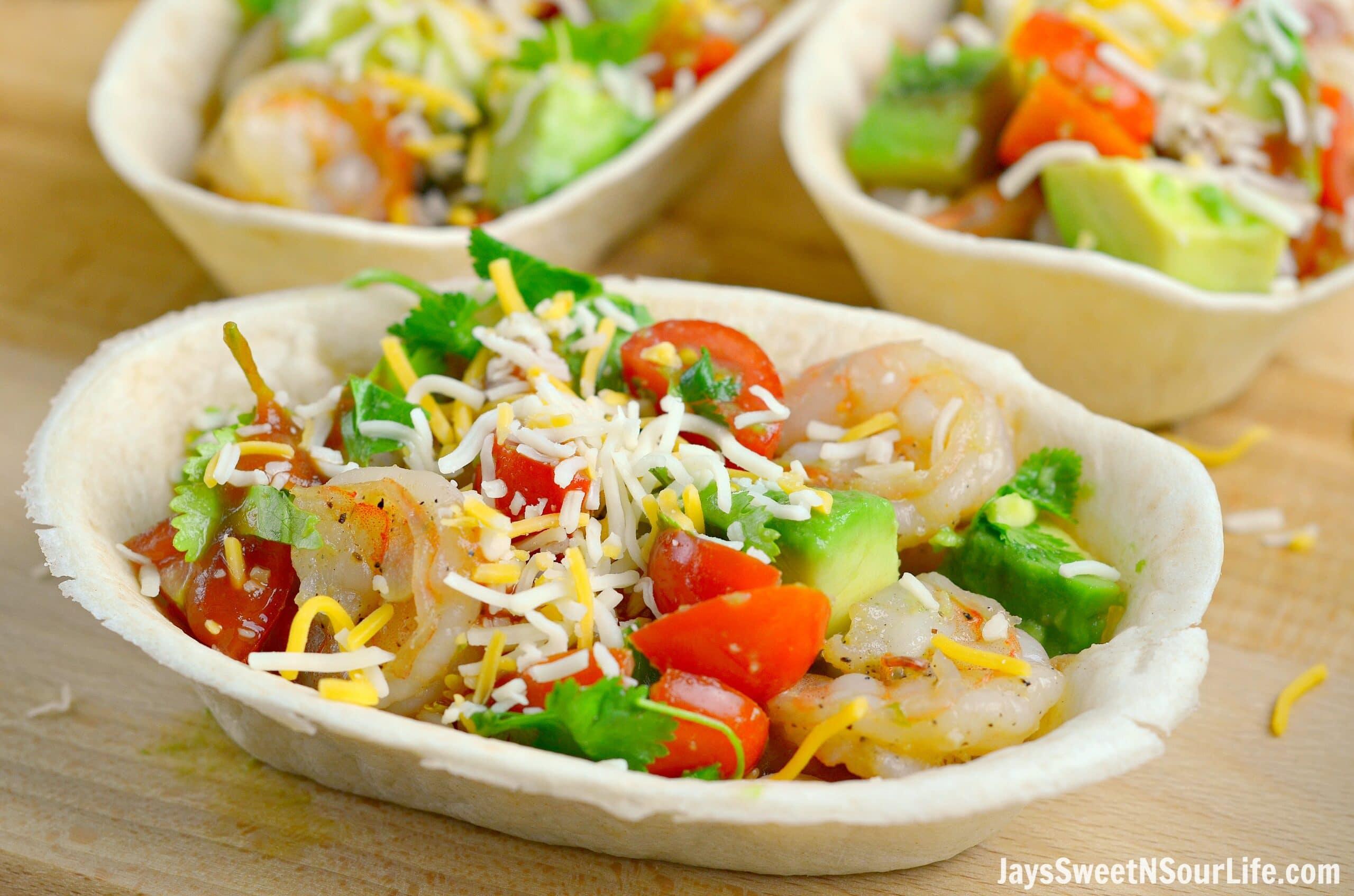Garlic Butter Shrimp Taco Boats