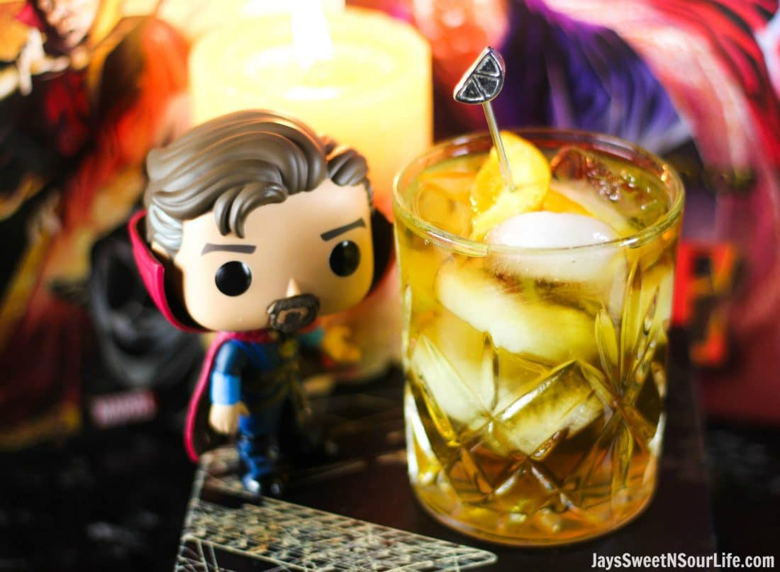 This drink so out of this world deliciously good, If you are looking for a way to celebrate the opening of Marvel's Doctor Strange Movie then this is the way you want to go. The Strange Manhattan is an out-of-this-world delicious adult beverage that you can enjoy while battling the dark forces from your couch.