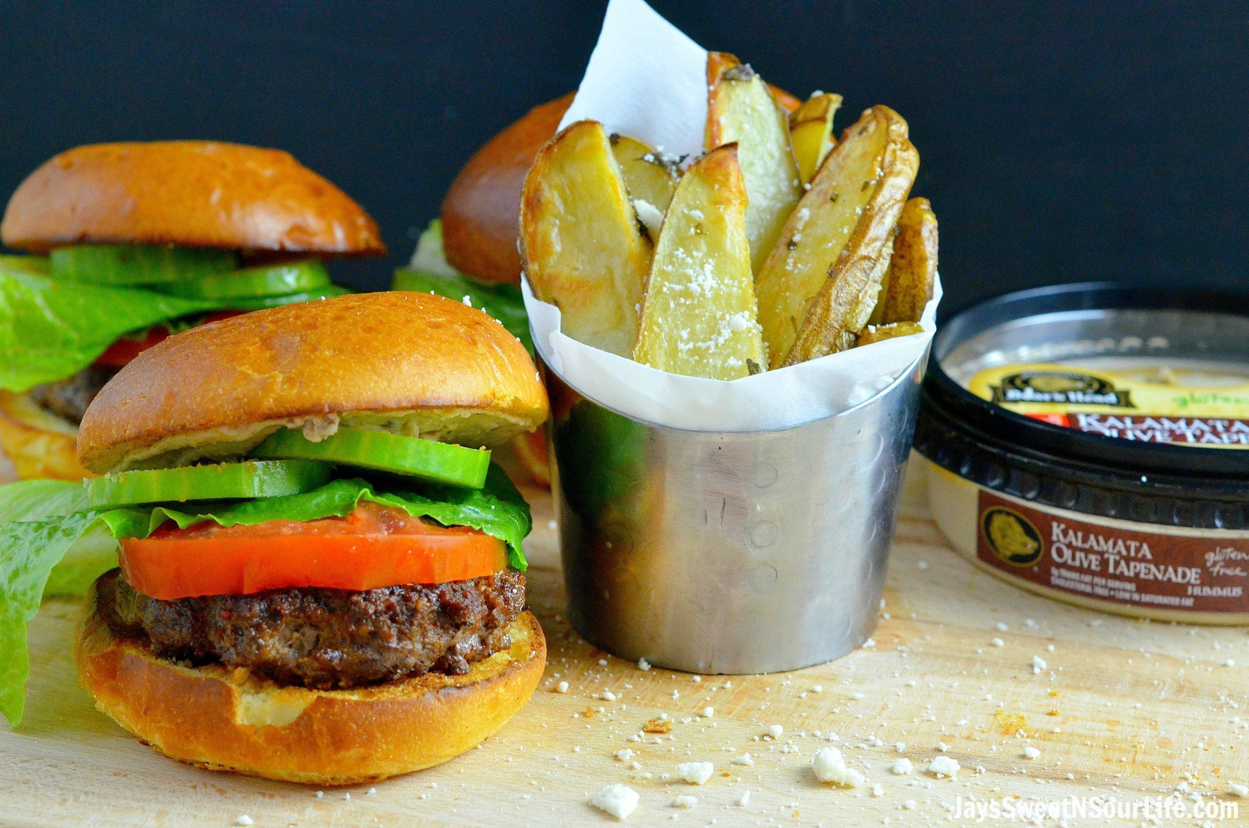 Mediterranean Bison Burger and Fries Table. Deck the halls and your home with the smell of delicious fresh made Mediterranean Bison Burger and fries using Boar's Hummus as a spread.
