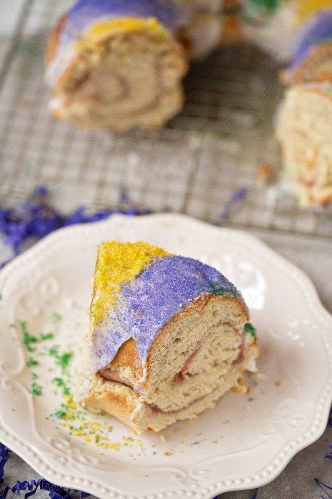 King Cake. Mardi Gras King Cake Filling. Celebrate Mardi Gras with this homemade Mardi Gras King Cake! A fun twist on the traditional King Cake, it's filled with a homemade strawberry filling. Bake and share this easy Strawberry Filled King Cake with your family.