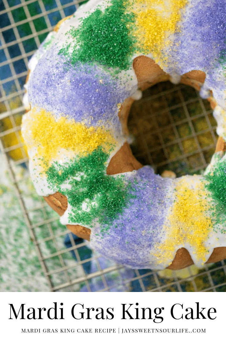 Mardi Gras King Cake. Hands down one of my absolute favorite cake recipes. Create a festive cake that the whole family will love. Checkout the full recipe to see what secret ingreident I use in my recipe.