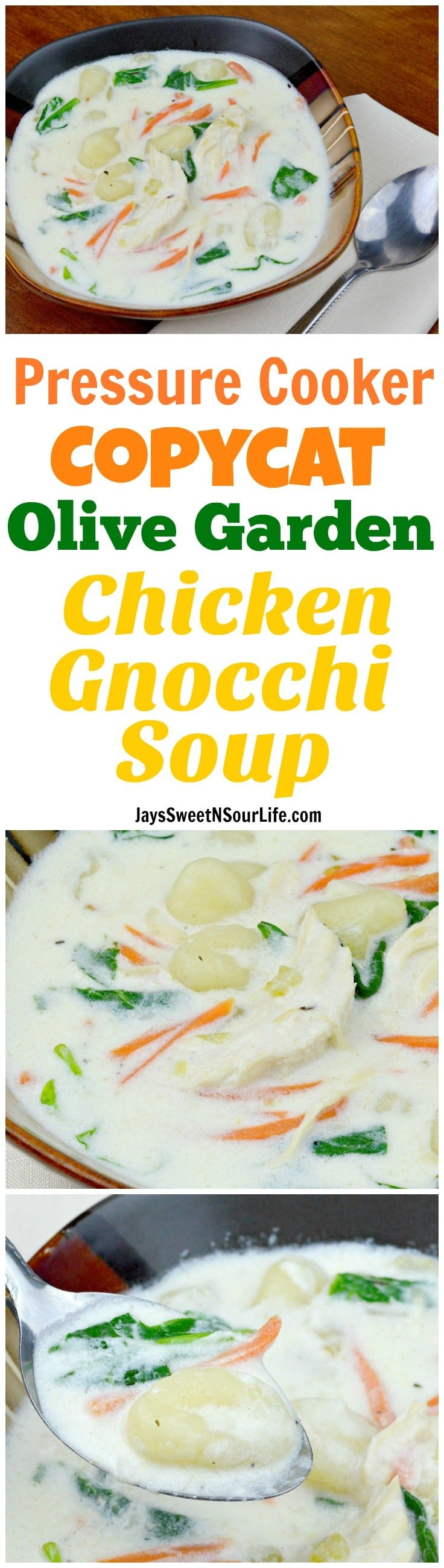 Pressure Cooker Copycat Olive Garden Chicken Gnocchi Soup. Bring the restaurant home with my Instant Pot Copycat Olive Garden Chicken Gnocchi Soup. Better than the restaurant, make this deliciously easy creamy soup recipe goes perfectly with a fresh-baked breadstick.