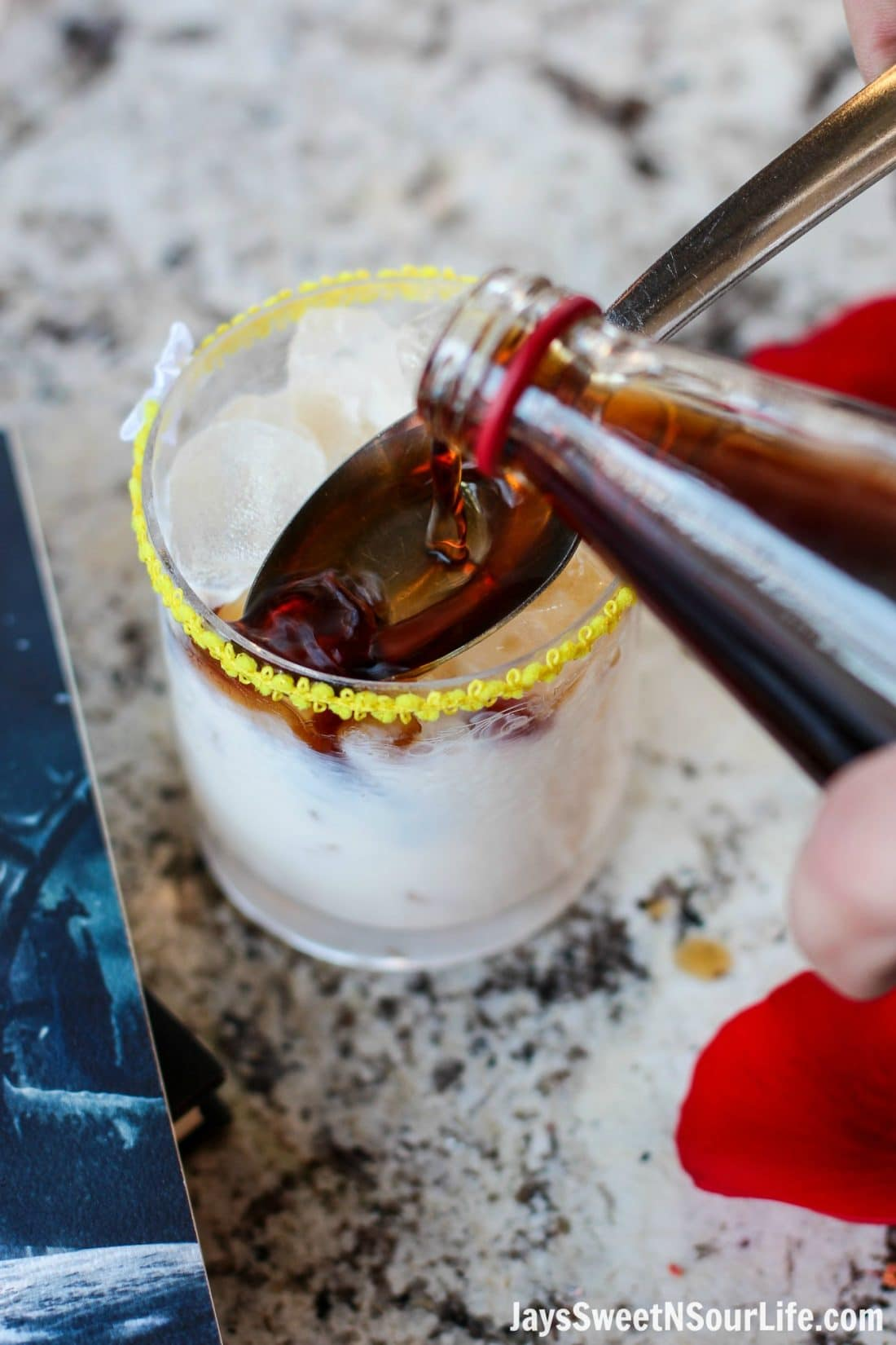 Beauty and the Beast Cocktail Step 2. Break the curse with this Disney inspired Beauty and the Beast Cocktail. Made with layers of Kringle Cream Liqueur and Coffee Soda, this simple but elegant cocktail recipe delivers a delicious big flavor.