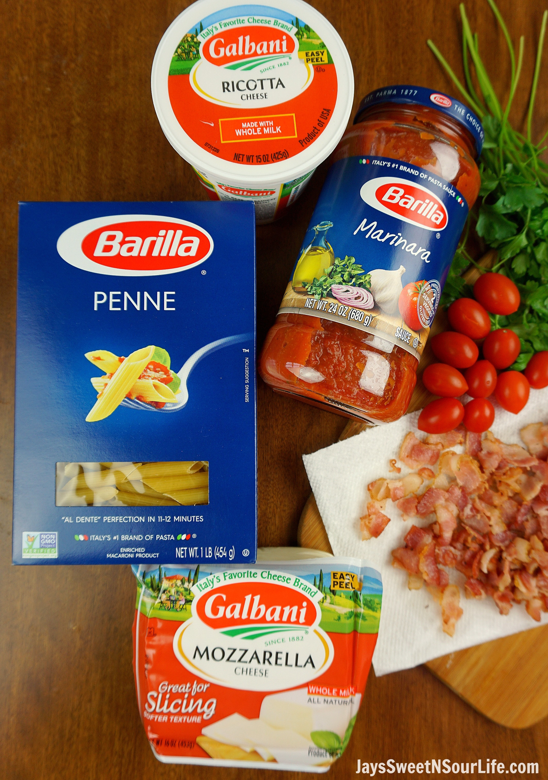 Cheesy Bacon and Spinach Penne Pasta Ingredients. Treat your family this holiday season with a deliciously easy to make Cheesy Bacon and Spinach Penne Pasta. Perfect for any dinner time during the year. Shared via Jays Sweet N Sour Life.
