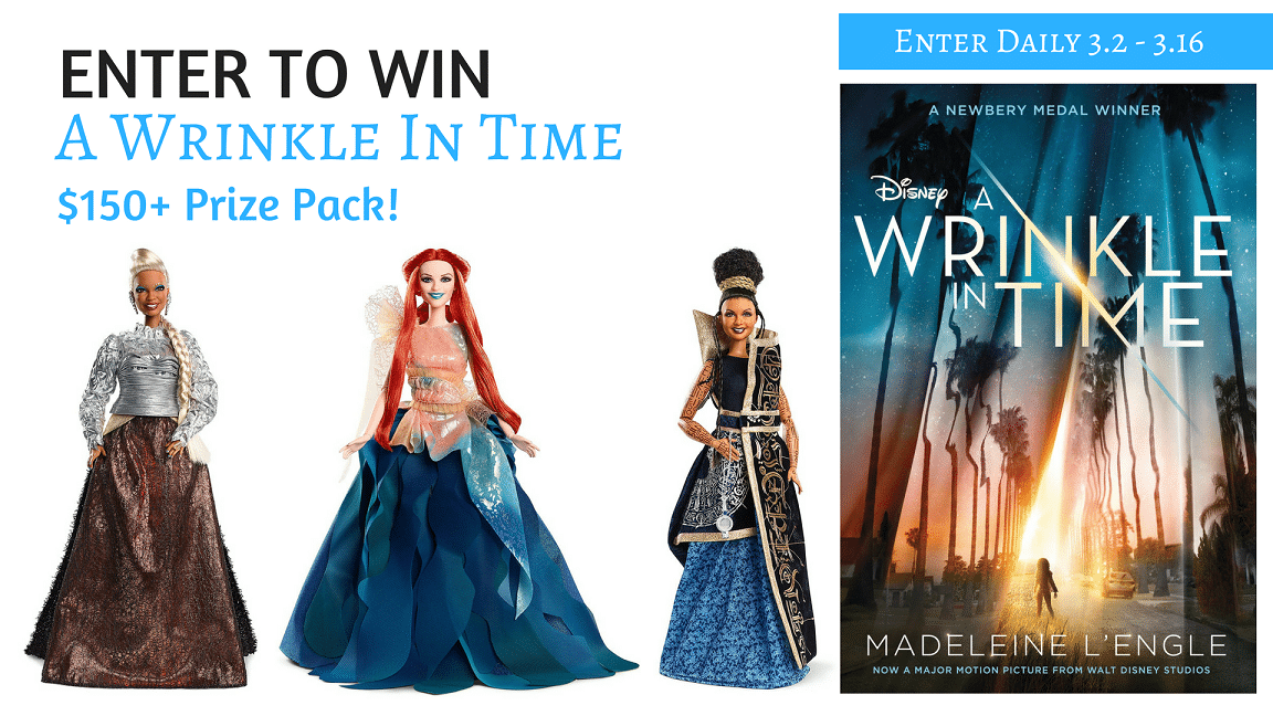Enter to win in our A Wrinkle In Time Group Giveaway. Win some amazing prizes, up to $150 in prizes up for grabs.