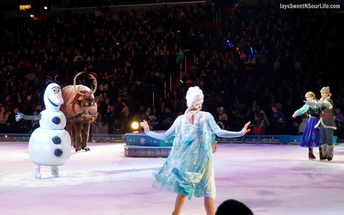 Disney On Ice Presents Frozen coming to a town near you. A scene with Elsa, Anna, Sven, Kristoff, and olaf