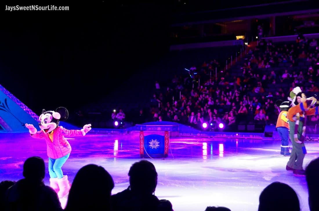 Disney On Ice Presents Frozen coming to a town near you. The beginning of the show with all of the famous Disney Chracters including Minnie Mouse, Goofy and Mickey Mouse.
