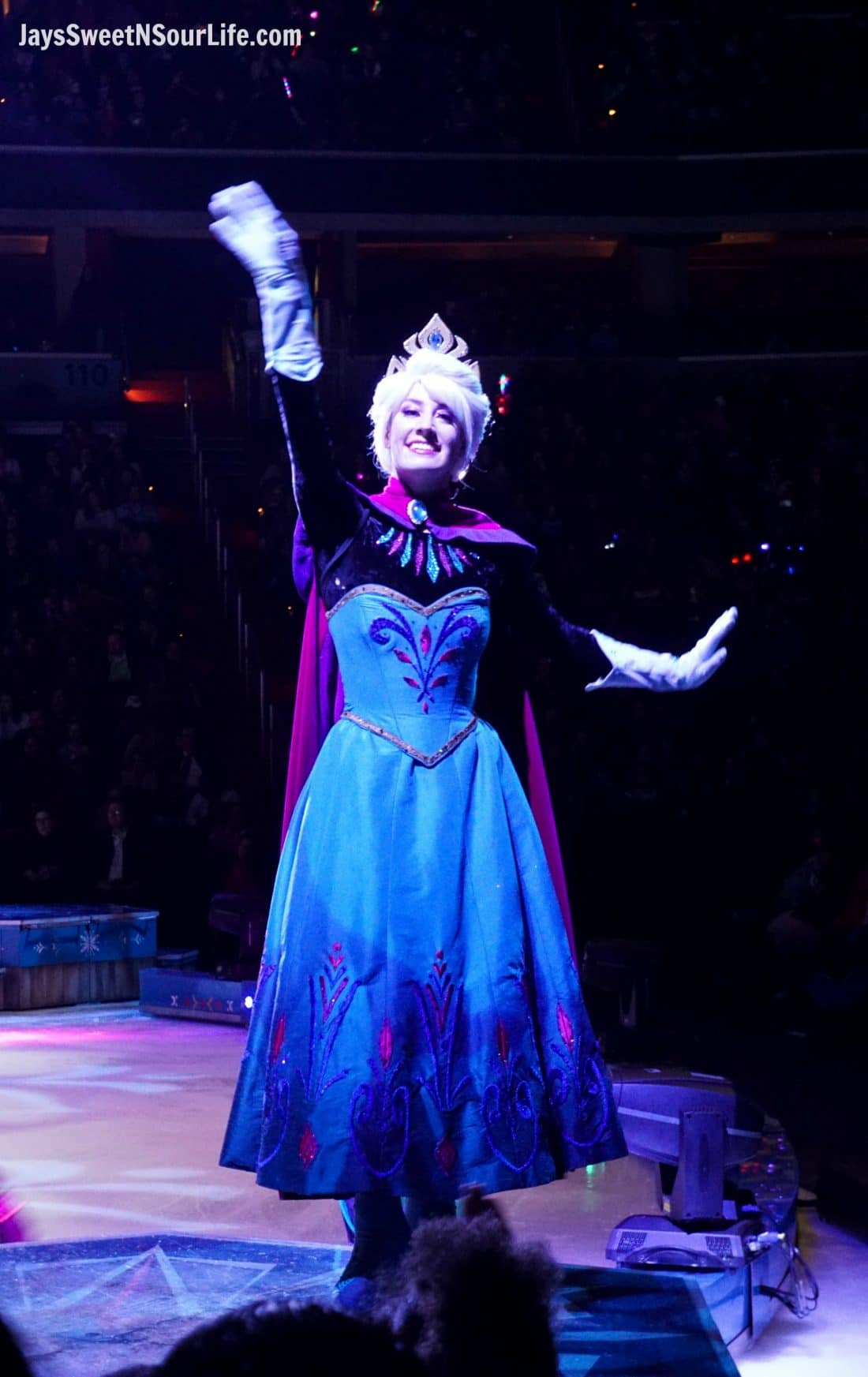Disney On Ice Presents Frozen coming to a town near you. Elsa waving to her friends in the audience.