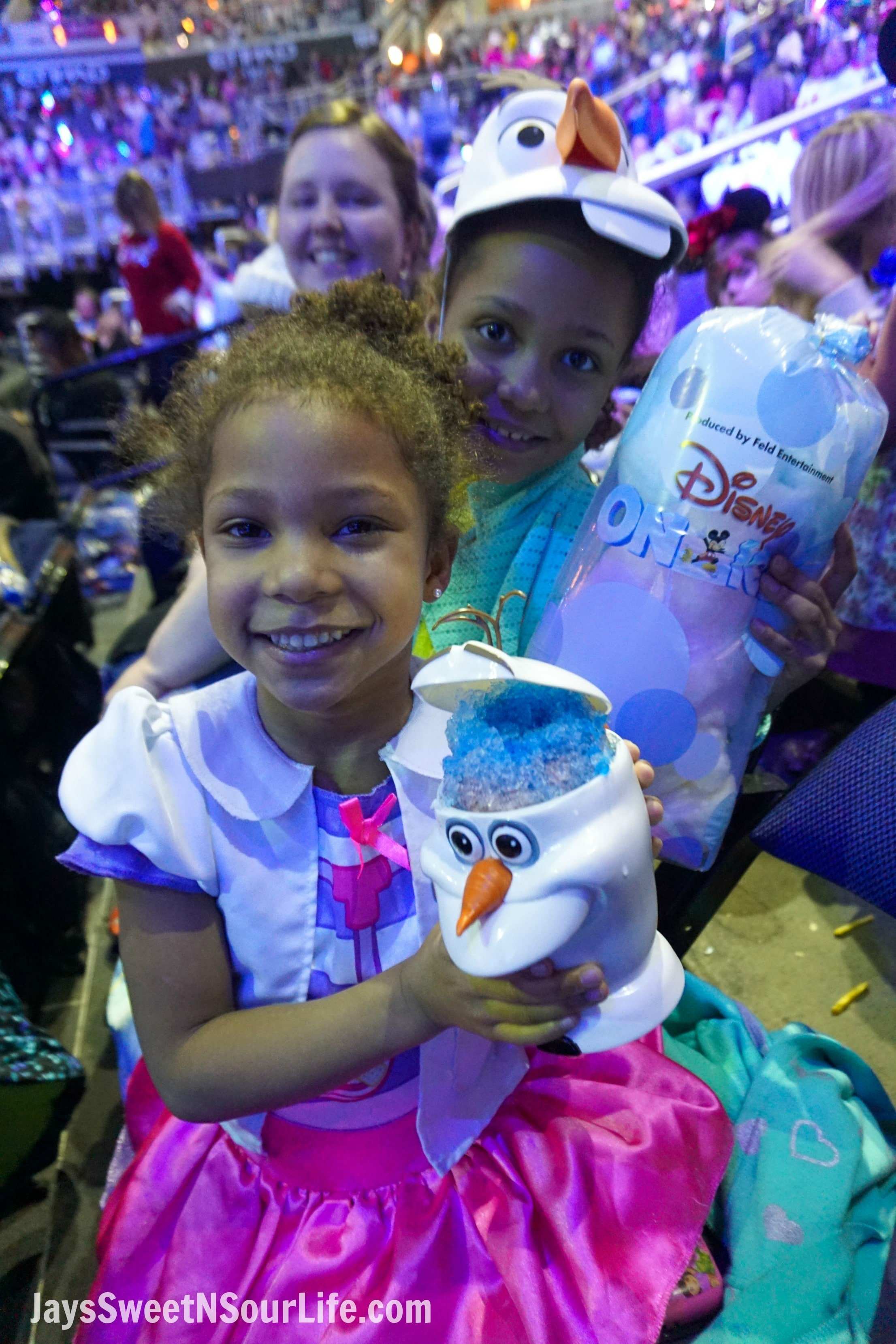 Disney On Ice Presents Frozen coming to a town near you. Intermission time when the girls recieved Cotton Candy and Olad Slushies.