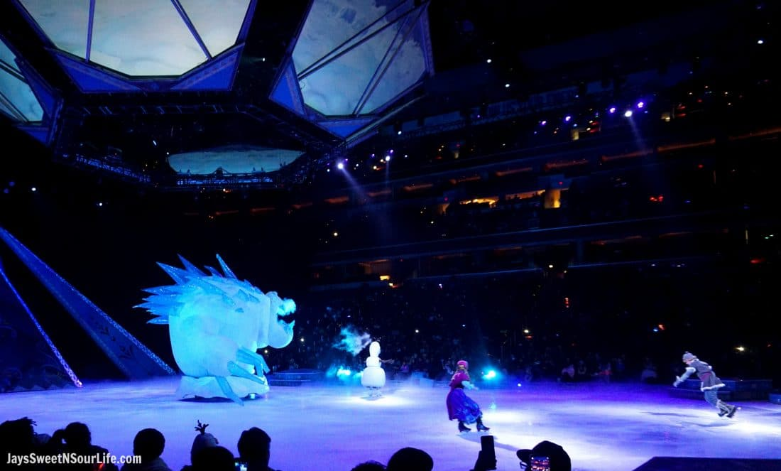 Disney On Ice Presents Frozen coming to a town near you. The fighting scnes from the show with the huge ice monster.