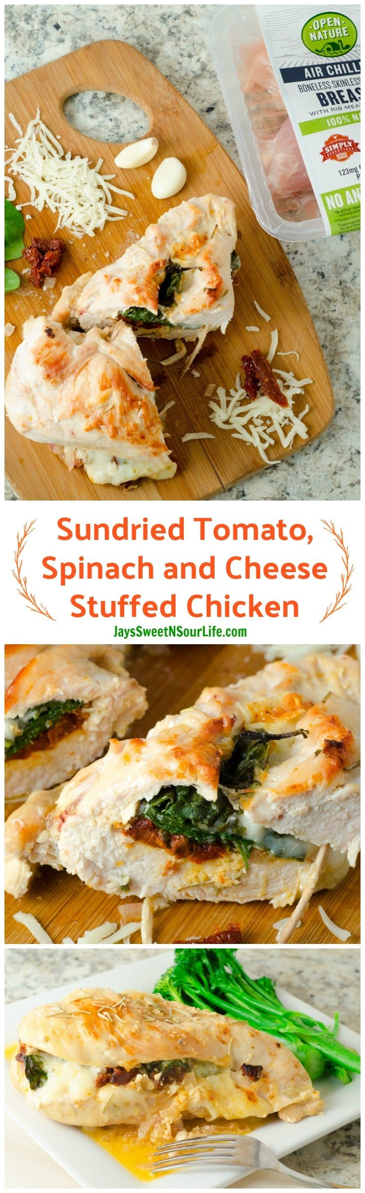 Try this deliciously juicy Sundried Tomato, Spinach, and Cheese Stuffed Chicken. Made with Open Nature® Air Chilled Chicken, avail. exclusively in @Safeway. Topped with a Creamy Lemon Butter Sauce. #spon #recipe