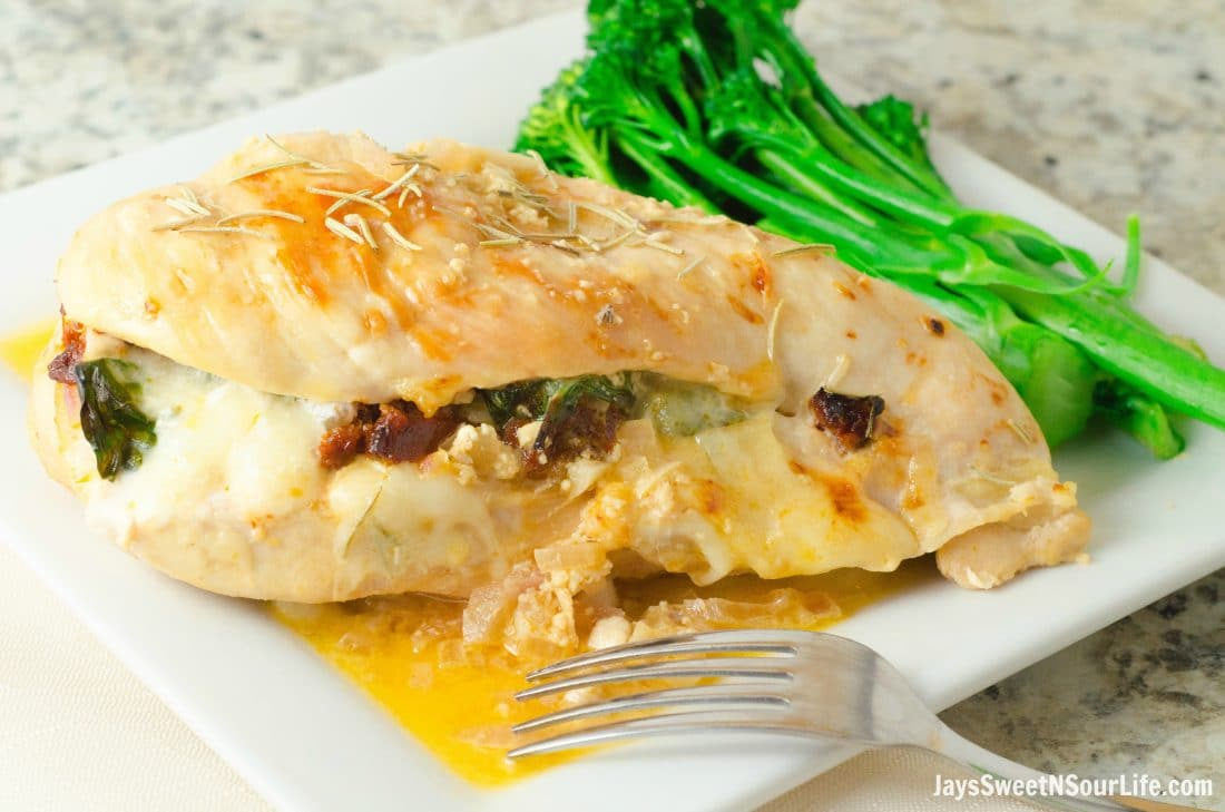 Bring something delicious to your dinner table this evening. Serve up this delicious Sundried Tomato, Spinach and Cheese Stuffed Chicken for a tasty dinner meal.