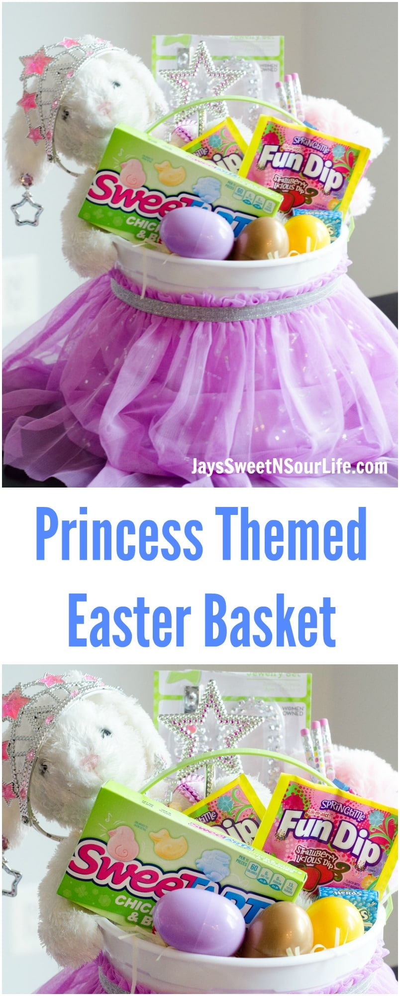 Easter is right around the corner, which means this mom is hard at work getting her 4 Kids Easter baskets together. This year I decided to put a spin on my girls Easter baskets by creating a Princess themed basket.   Fully equipped with everything a princess needs. #ad #Nestle #NestleEasterBasket #Easter #EasterBasket #diy #easterbasketideas #easterdiy #Kidfriendly #momapproved #easydiy #crafty #craft #candy @Nestle