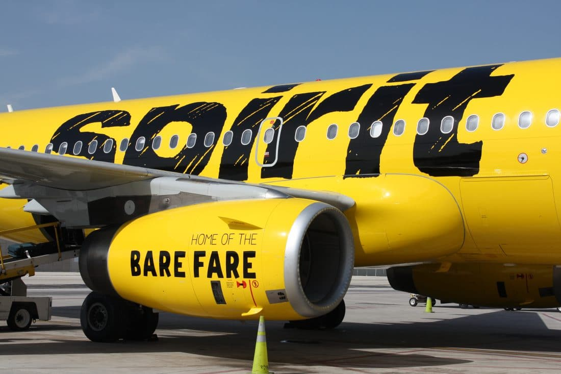 Fly more and pay less with Spirit Airlines bare fare. A side shot of Spirit Airlines A319 Side Exterior.