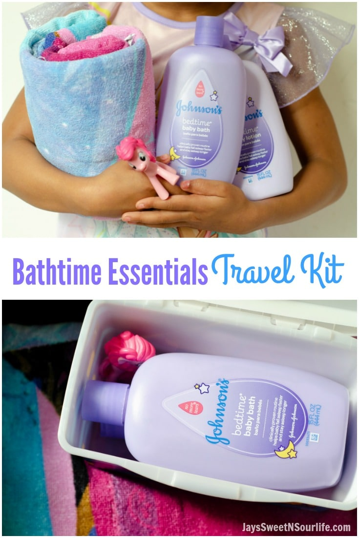 Create your very own Bathtime Travel kit with my checklist. Pack your child's favorite bathtime toy, PJ set, towel and Johnson and Johnsons Bedtime bath soap and lotion. JaysSweetNSourLife.com