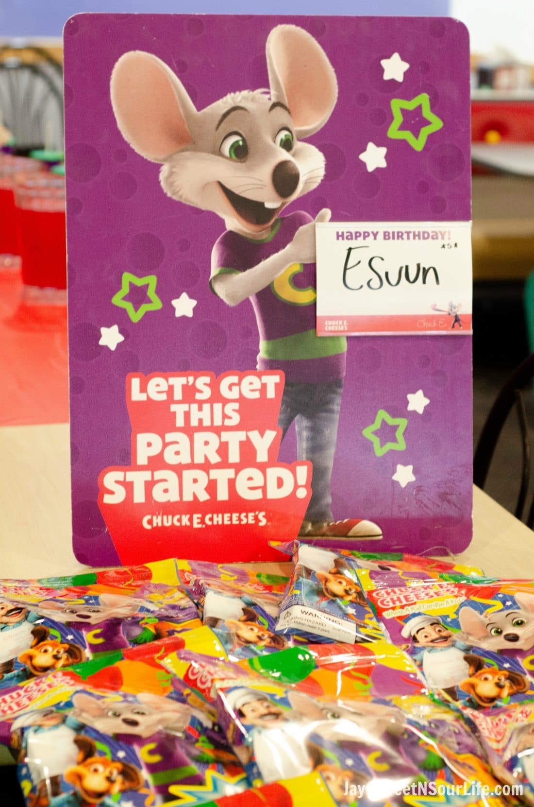 Chuck e cheeses VIP birthday Party Sign with Goodie Bags. Book your party today and have guests enjoy 2 hours of unlimited game play.