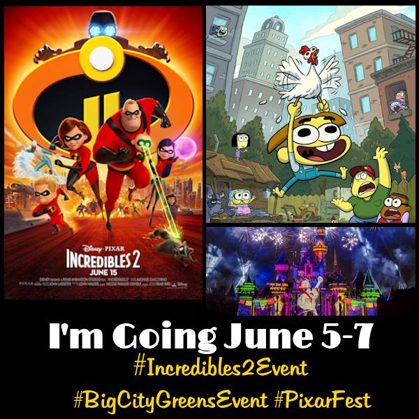 Incredibles2Event button features everything that will be covered during the event. The event is held from June 5-7th 2018.