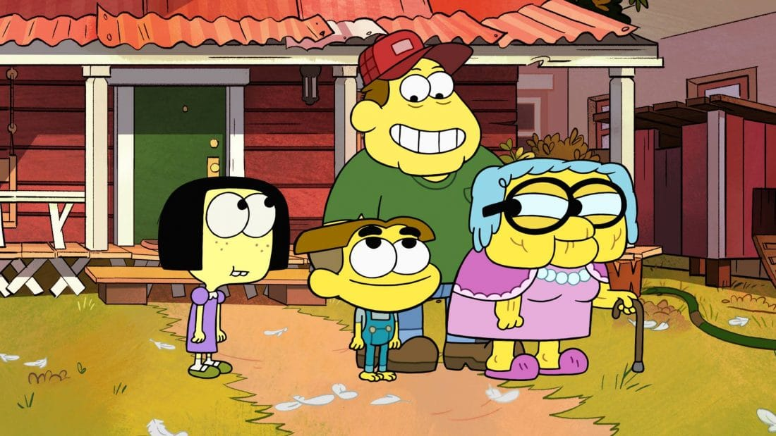 Disney Channels Big City Greens premieres June 15th. Disney Chanels Big City Greens family standing infront of house.