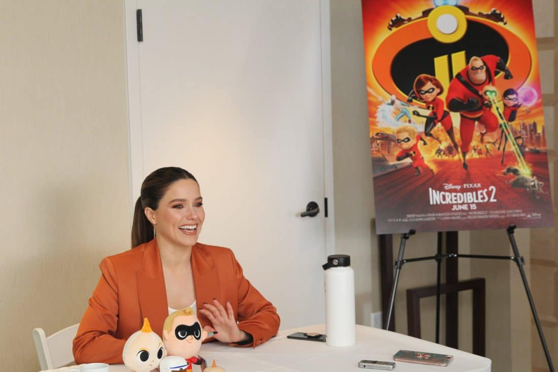 Incredibles 2 Interview with Sophia Bush Voice of Voyd Sitting Laughing. Disney Pixars Incredibles 2 film is in theaters everywhere today.