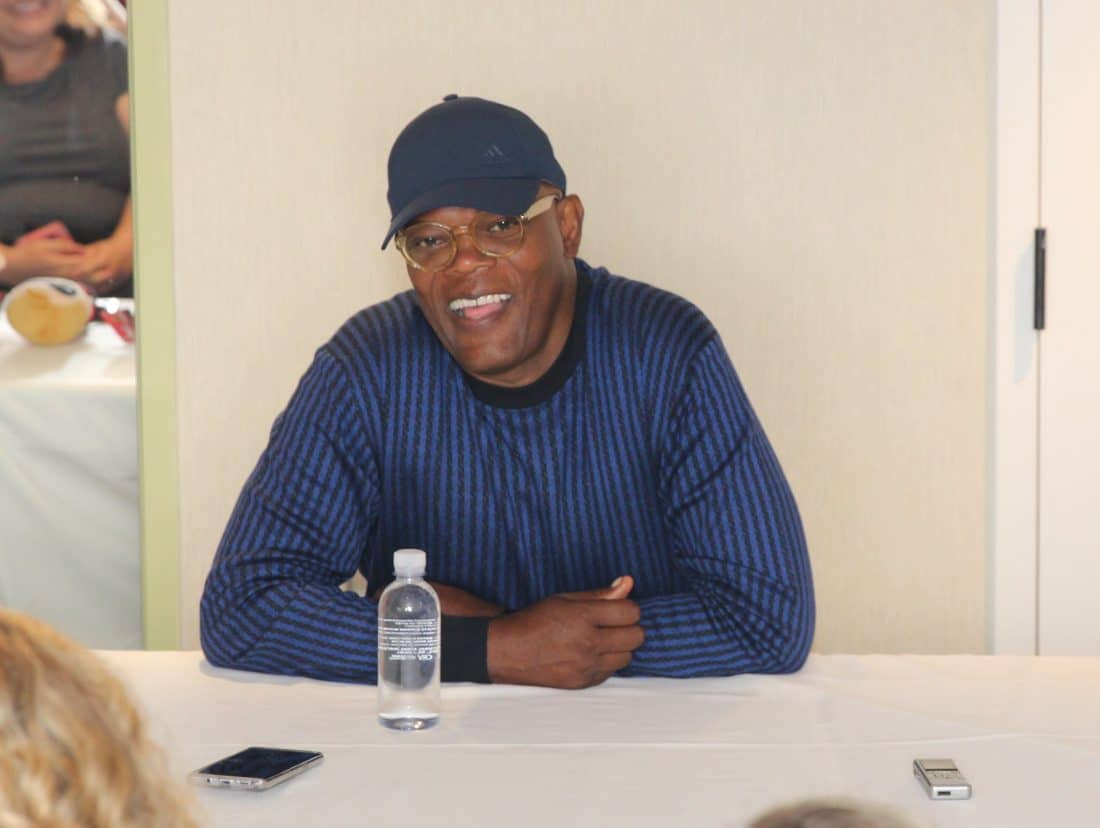 Samuel L. Jackson at Incredibles2event press junket smiling. Full Interview and look inside what Samual thought about the Incredibles 2 Film.