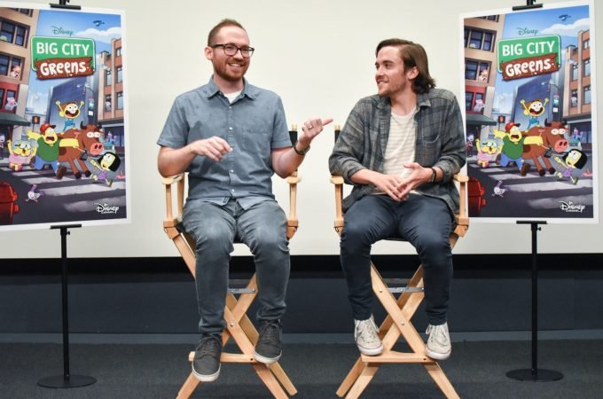Chris and Shane Houghton sitting at interview with bloggers answering questions. Big City Greens premieres June 18 at 9:30 a.m. on Disney Channel, DisneyNOW, and Disney Channel VOD.