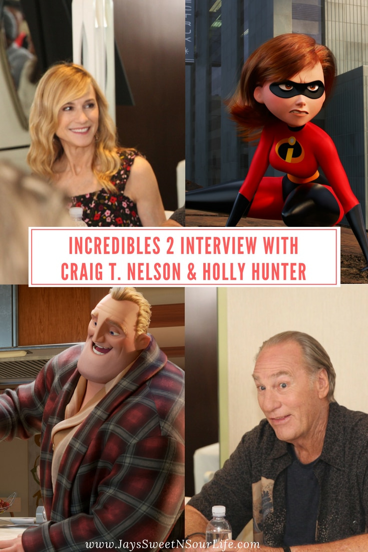 Incredibles 2 Interview with Craig T. Nelson & Holly Hunter who play Mr. Incredible and Elastigirl. An Inside Look and background on how these two felt about this sequel and their thoughts on the movie itself. www.jayssweetnsourlife.com