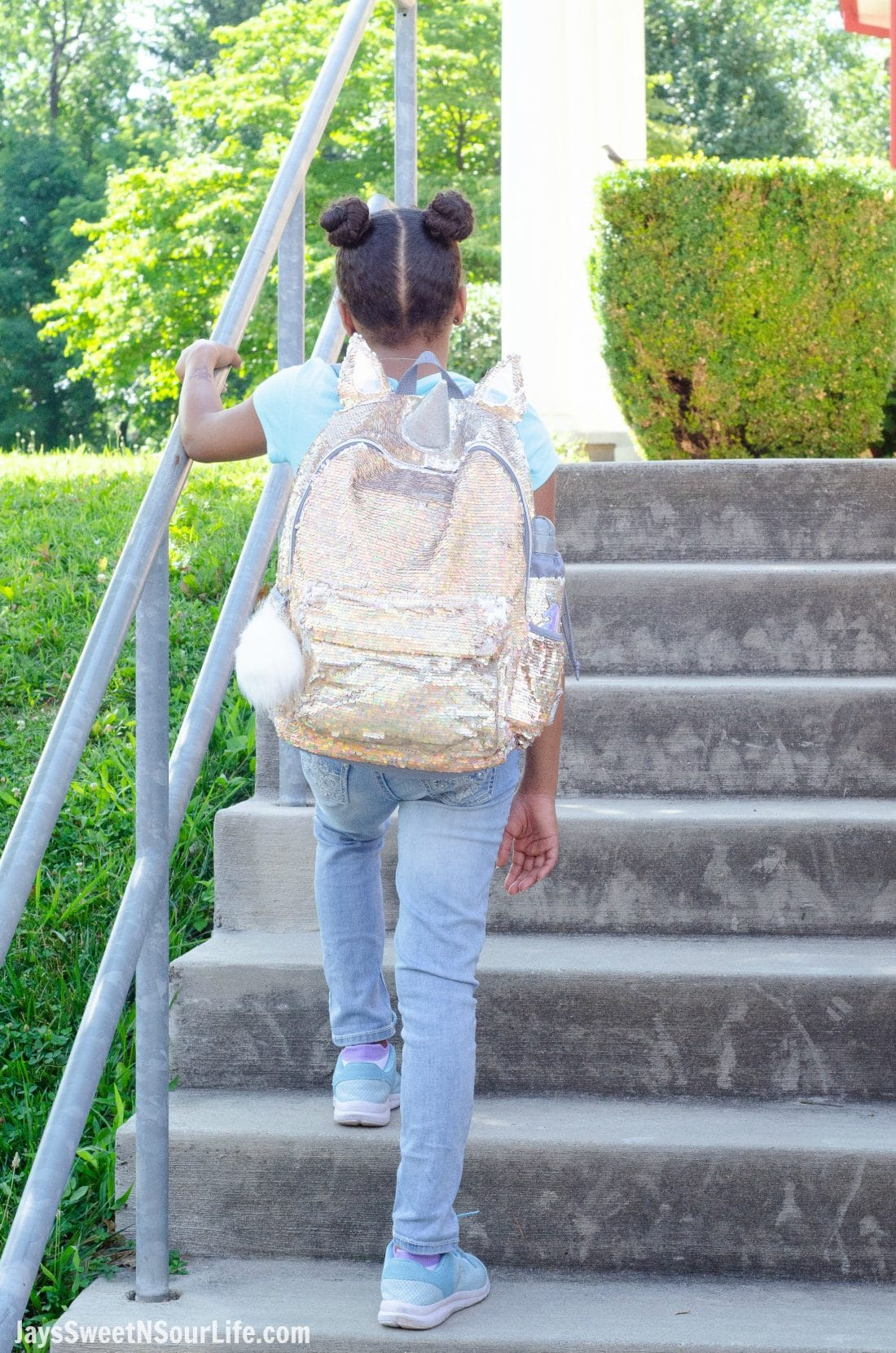 Justice Back To School Unicorn Backpack Lifestyle Shot. Back To School Must Have Fashion For Tweens via JaysSweetNSourLife.com