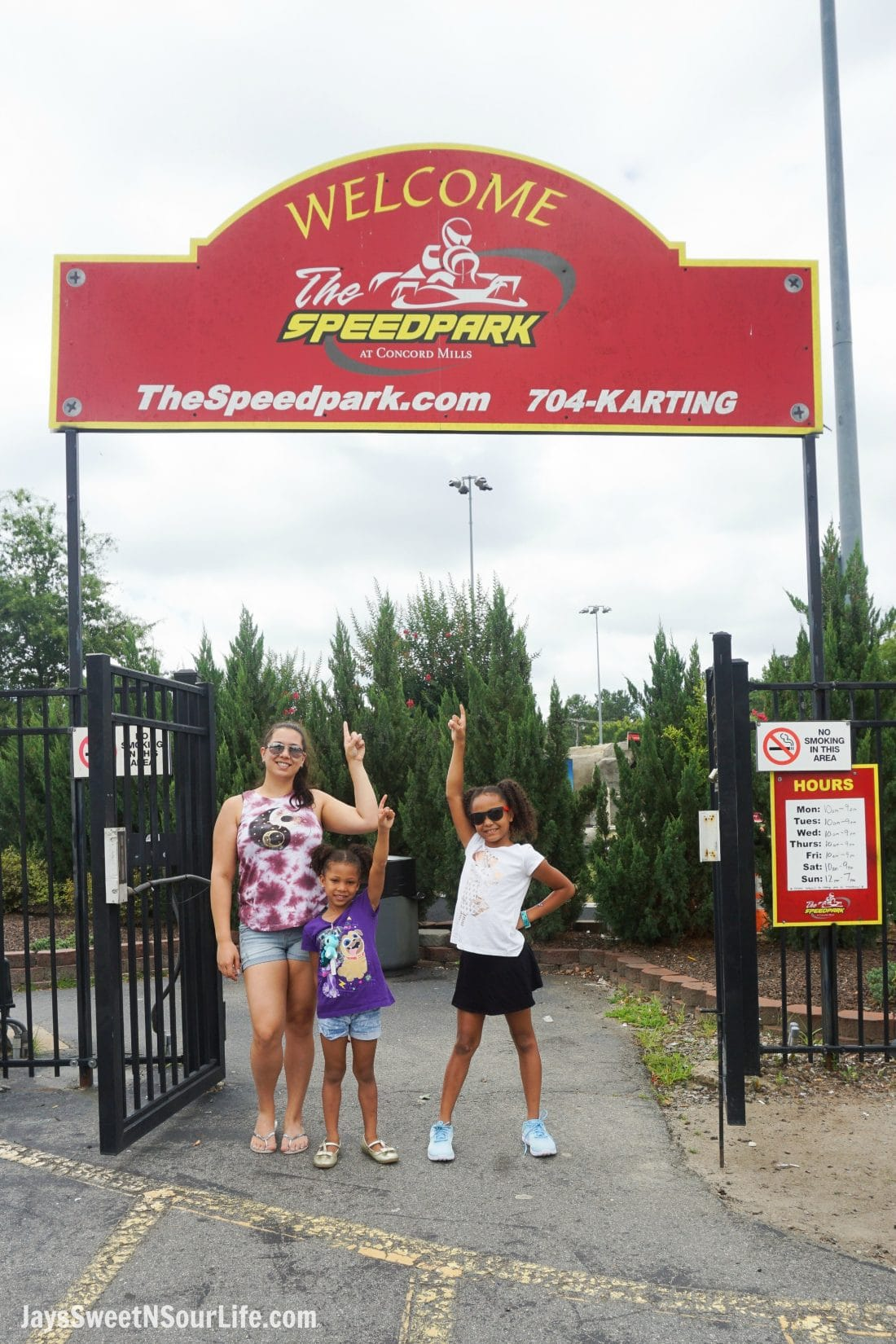 SpeedPark - Visit Cabarrus County Entrance Family Shot. A Large Families Adventure Guide To Cabarrus County - North Carolina - via JaysSweetNSourLife.com.