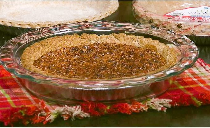 Pecan Pie Recipe in celebration of National Pecan Pie day July 12th. As seen on Fox 45 news, JaysSweetNSourLife shared this delicious recipe featuring a Spicy Praline Bacon Topping.