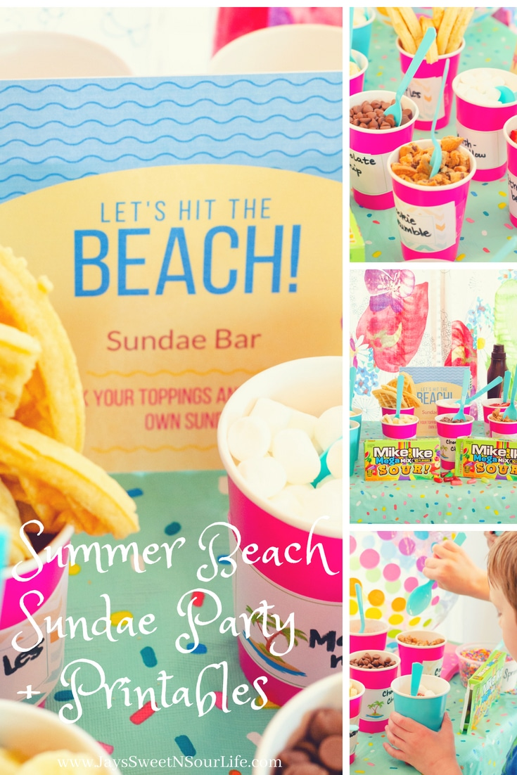 Skip the sand and throw your very own Summer Beach Sundae Party at home! View my Guide + Printables: https://bit.ly/2v209bX  #ad @MikeandIke @Walmart #MegaSourSummer #Printables #Guide #DIY #KidsPartyIdea #PartyIdea #SundaeParty #Party #DIYParty #IceCream #BuildYourOwn #Beach #Summer #BeachParty.