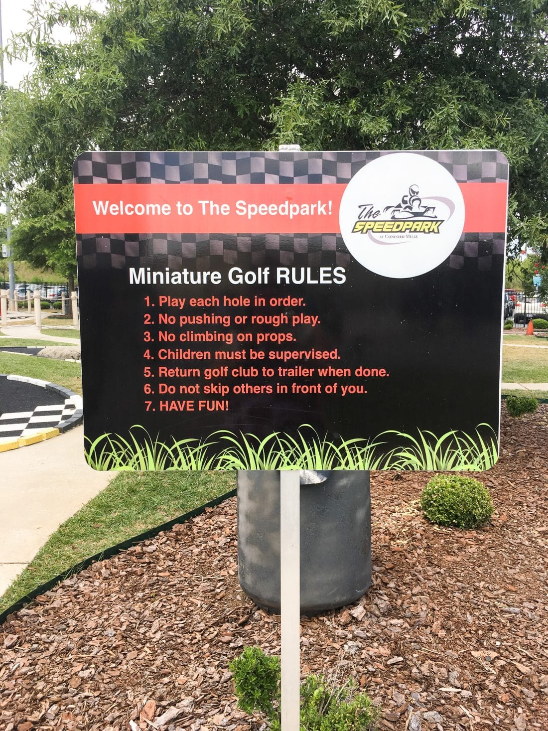 SpeedPark - Visit Cabarrus County Mini Golf Sign. SpeedPark - Visit Cabarrus County Mini Golf Sign. Read more about our Racing Good Time at The Speedpark in Concord Mills North Carolina.