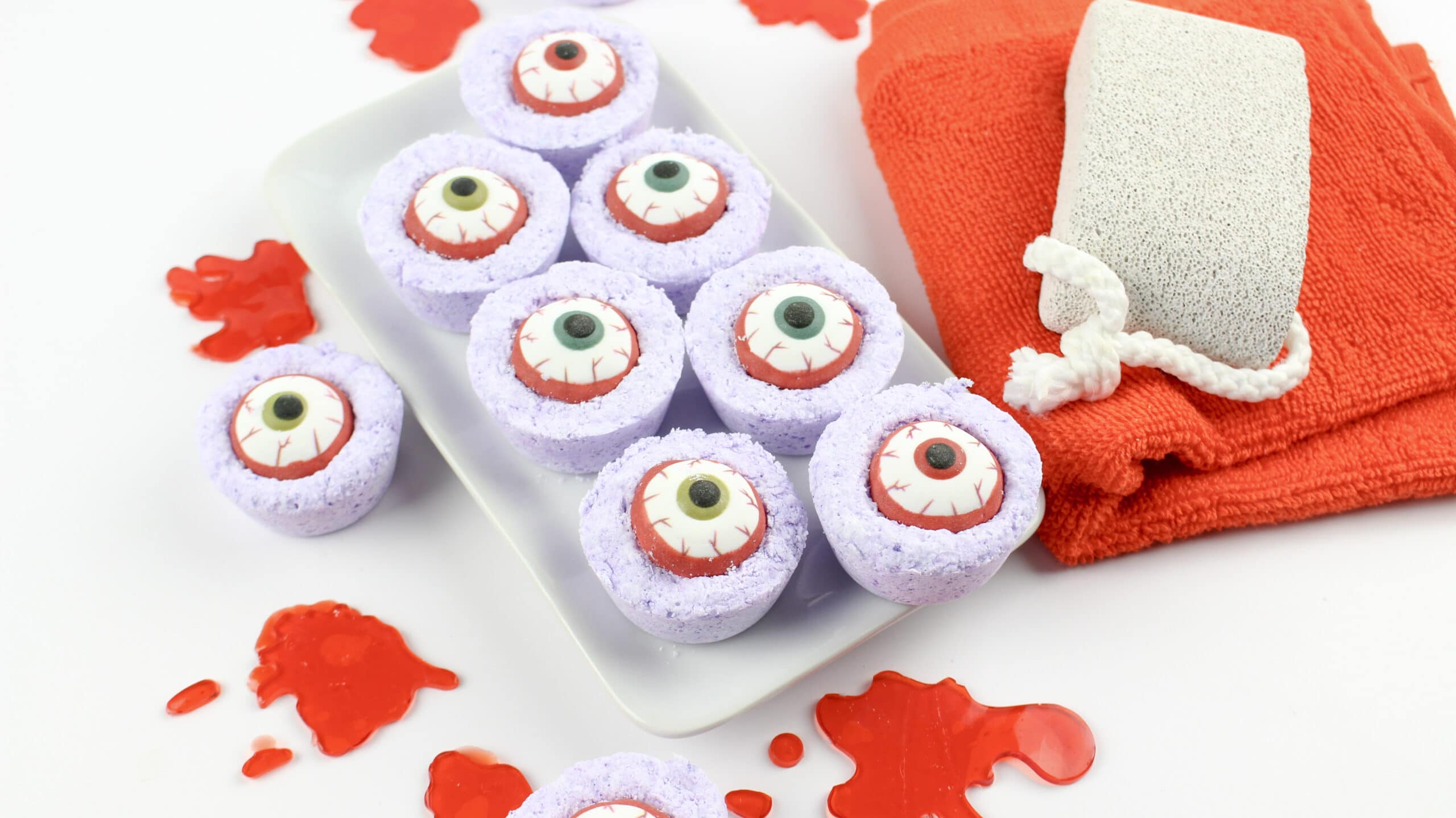 Zombie Eyes Bath Bombs Closeup. Create your very own DIY Zombie Eyes Bath Bombs.