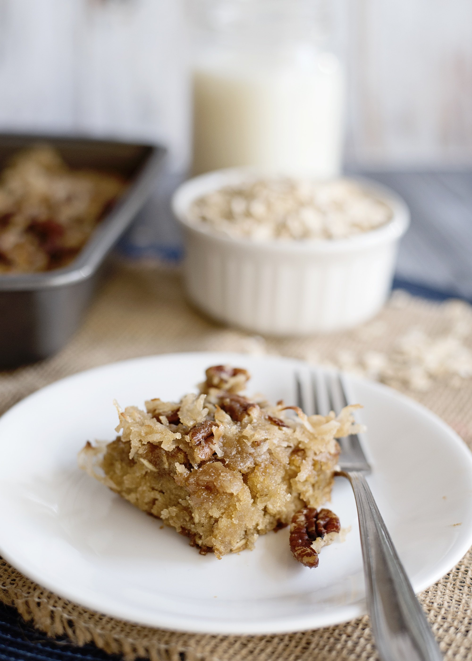 Oatmeal Cake with Coconut Pecan Frosting