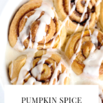Pumpkin Spice Cinnamon Rolls. These easy to make and oh so delicous, perfect for home made Saturday Morning breakfasts. Fill your home with the delicious smell of these easy to make Pumpkin Spice Cinnamon Rolls.